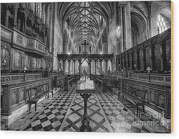 Tewkesbury Abbey Bw Wood Print by Jack Torcello