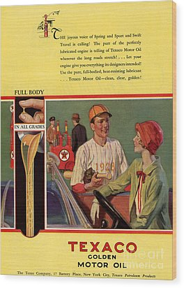 Texaco 1926 1920s Usa Cc  Baseball  Oil Wood Print by The Advertising Archives
