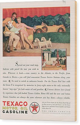 Texaco 1929 1920s Usa Cc Oil Gas Petrol Wood Print by The Advertising Archives