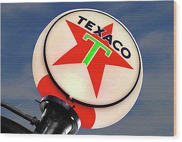 Texaco Star Globe Wood Print by Mike McGlothlen