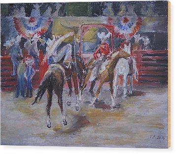 Texan Rodeo Wood Print by Barbara Pommerenke
