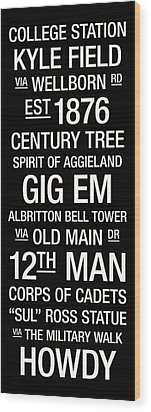 Texas A And M College Town Wall Art Wood Print by Replay Photos