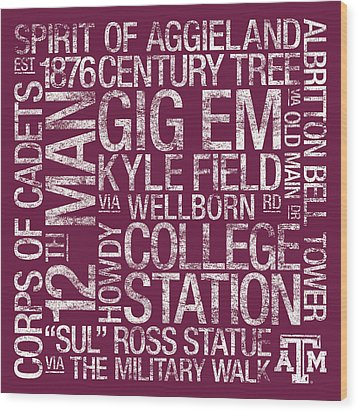 Texas Am College Colors Subway Art Wood Print by Replay Photos