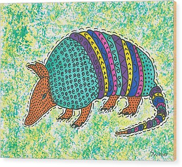Wood Print featuring the painting Texas Armadillo by Susie Weber