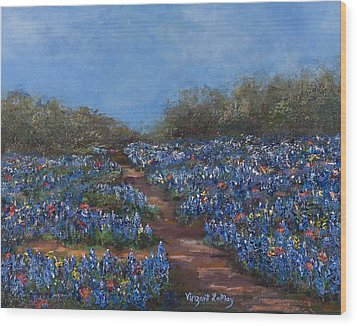 Texas Blue Bonnets Hill Country Trail Wood Print by Nancy LaMay