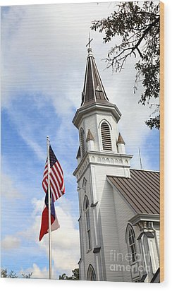 Texas Church And Flags Wood Print by Pattie Calfy