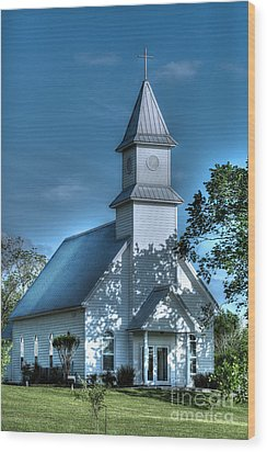 Texas Country Church Wood Print by D Wallace
