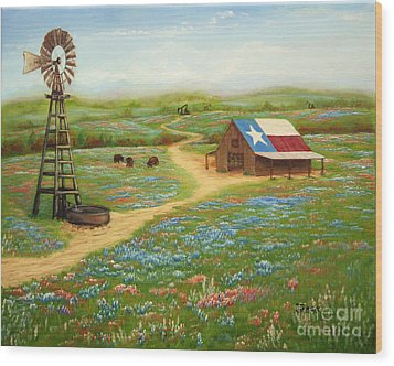 Texas Countryside Wood Print by Jimmie Bartlett