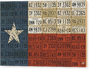Texas Flag The Lone Star State License Plate Art Wood Print by Design Turnpike
