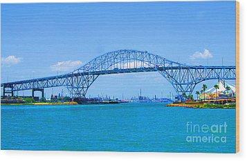 Texas Harbor Bridge Wood Print by Tina M Wenger