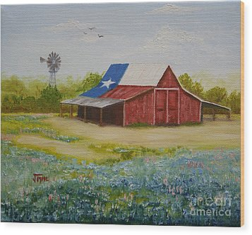 Wood Print featuring the painting Texas Hill Country Barn by Jimmie Bartlett