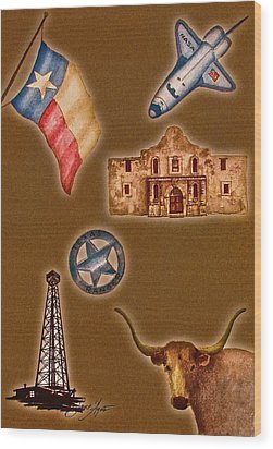 Texas Icons Poster By Sant'agata Wood Print by Frank SantAgata