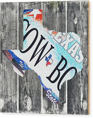 Texas License Plate Map Wood Print by Bill Cannon