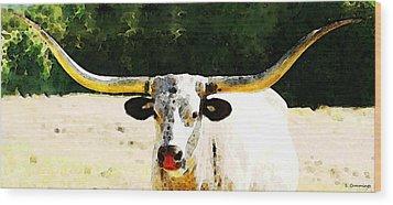 Texas Longhorn - Bull Cow Wood Print by Sharon Cummings