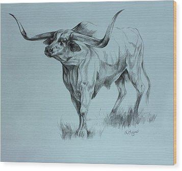 Texas Longhorn Wood Print by Derrick Higgins