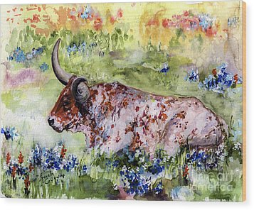 Texas Longhorn In Blue Bonnets Wood Print
