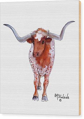Texas Longhorn Wood Print by Kathleen McElwaine
