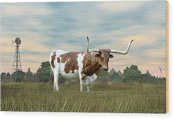 Texas Longhorn  Wood Print by Walter Colvin