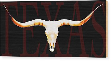 Texas Longhorns By Sharon Cummings Wood Print by Sharon Cummings