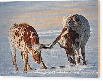 Texas Longhorns Wood Print by Lena  Owens OLena Art