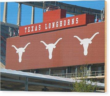 Texas Longhorns Sign Wood Print by Connie Fox
