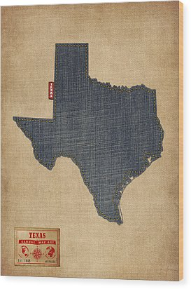 Texas Map Denim Jeans Style Wood Print by Michael Tompsett