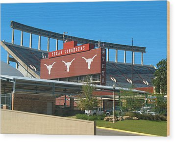 Texas Memorial Stadium - U T Austin Longhorns Wood Print by Connie Fox