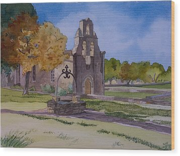 Texas Mission Wood Print by Terry Holliday