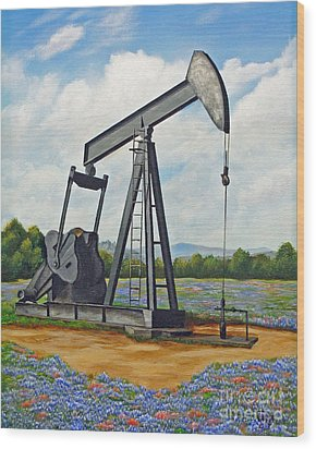 Texas Oil Well Wood Print by Jimmie Bartlett
