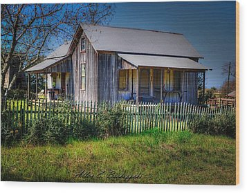 Texas Old Homestead Wood Print