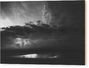 Texas Panhandle Supercell - Black And White Wood Print by Jason Politte
