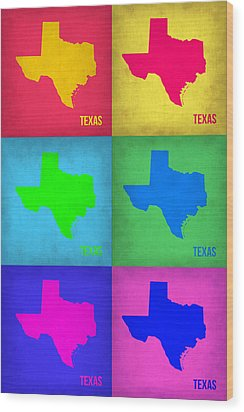 Texas Pop Art Map 1 Wood Print by Naxart Studio