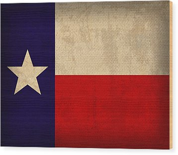Texas State Flag Lone Star State Art On Worn Canvas Wood Print by Design Turnpike