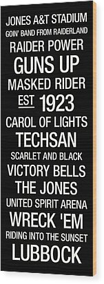 Texas Tech College Town Wall Art Wood Print by Replay Photos