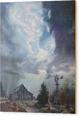 Wood Print featuring the painting Texas Thunderstorm by Karen Kennedy Chatham