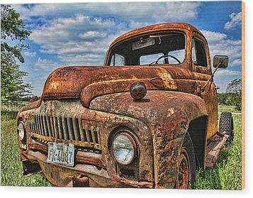 Texas Truck Wood Print by Daniel Sheldon