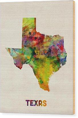Texas Watercolor Map Wood Print