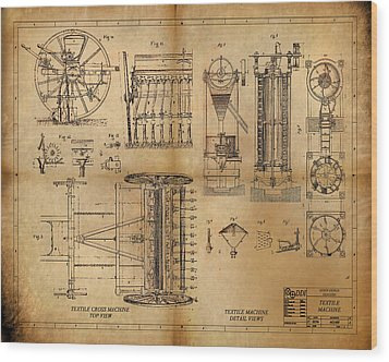 Textile Machine Wood Print by James Christopher Hill