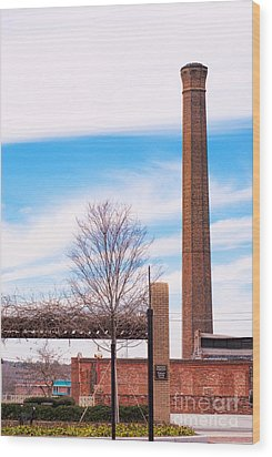 Wood Print featuring the photograph Historical Textile Mill Smoke Stack In Columbus Ga by Vizual Studio