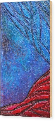 Texture And Color Bas-relief Sculpture #5 Wood Print