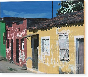 Textured - City In Mexico Wood Print by Gena Weiser