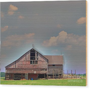 Wood Print featuring the photograph Textured - Grey Barn by Gena Weiser