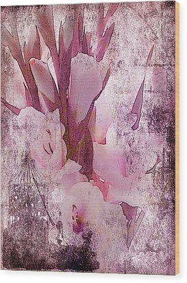 Wood Print featuring the photograph Textured Pink Gladiolas by Sandra Foster