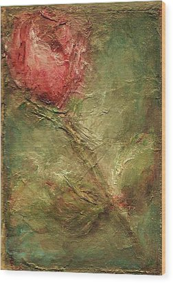 Wood Print featuring the painting Textured Rose Art by Mary Wolf