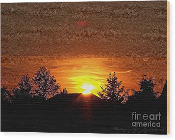 Wood Print featuring the photograph Textured Rural Sunset by Gena Weiser