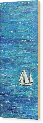 Textured Sea With Sailboat Wood Print by Lauretta Curtis