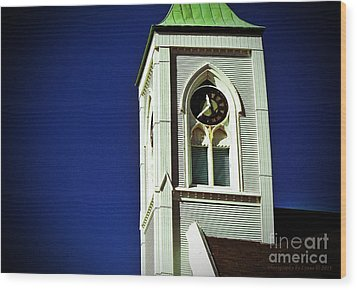Wood Print featuring the photograph Textured Steeple Clock by Gena Weiser