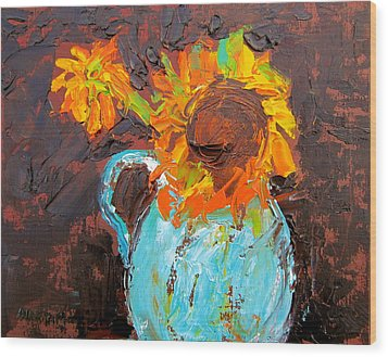 Textured Sunflowers Wood Print by Marita McVeigh