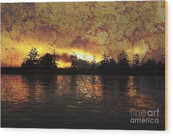 Textured Sunrise Wood Print by Erica Hanel