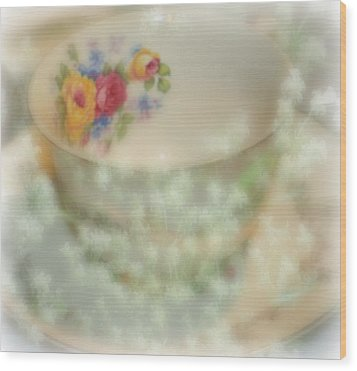 Textured Tea Cup Wood Print by Barbara S Nickerson